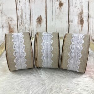 3 x Wired Ribbon with Lace NEW